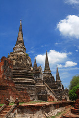 Ruined Old Temple, Ayutthaya, Thailand,