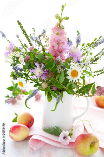 apples and summer flowers