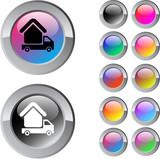 Camper multicolor round button. poster