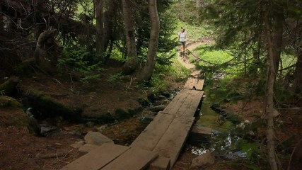 (1217b) Mountains Forest Trail Woman Hiker Stream Summer