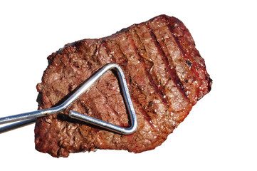 Tongs Holding Grilled Beef Loin Top Sirloin Steak