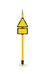 Blank traffic sign and pencil with clipping path (See more)
