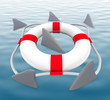 Shark FIns Circling Life Preserver