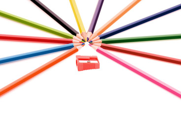 Multicolor pencils and red sharpener
