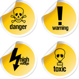 Toxic vector stickers set poster