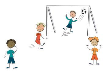 4 enfants jouent au foot