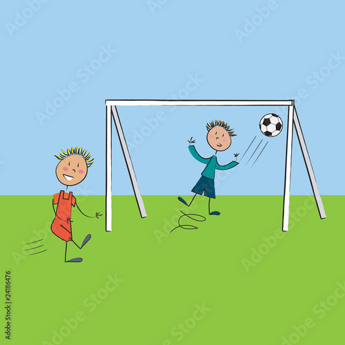 2 enfants football fond