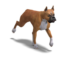 German Boxer Dog. 3D rendering with clipping path and shadow ove
