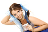 pigtails girl with bar of chocolate isolated poster