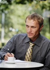 businessman work in cafe