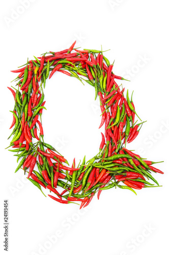 Alphabet with green and red peppers - letter