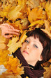 The girl in autumn leaves
