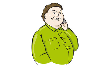 Fat guy talking on the phone.
