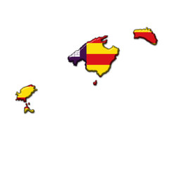 Silueta islas Baleares en relieve con colores bandera