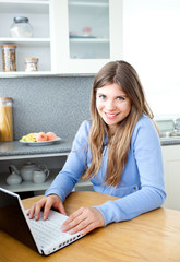 Positve woman with a laptop