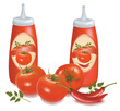 Two ketchups with labels, tomatoes and chili. Vector.