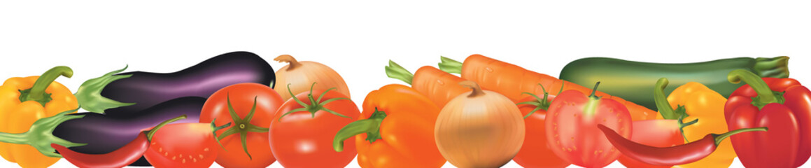 Vegetables design border. Photo-realistic vector.