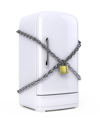 Closed fridge with chain and lock - diet concept