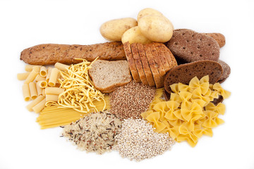 group of carbohydrate products isolated on white background