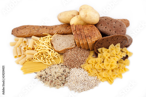 group of carbohydrate products isolated on white background - 24204431