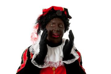surprised Zwarte piet ( black pete) typical Dutch character