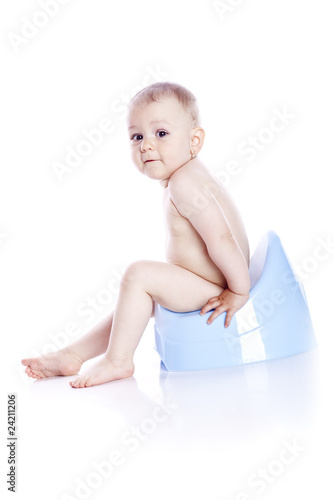 Pretty baby and blue potty