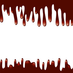 Chocolate syrup drip pattern, vector illustration