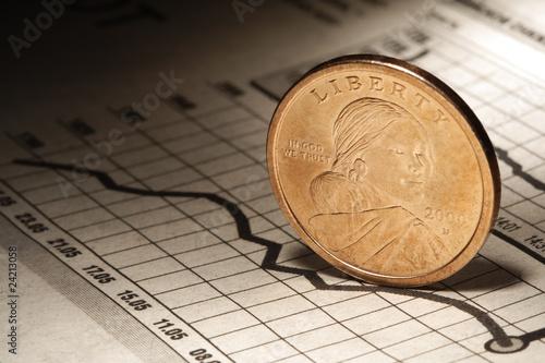 dollar on newspaper chart