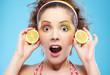 shocked girl with lemon