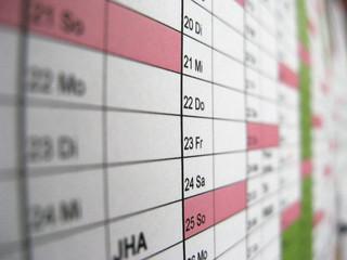 Kalender im Büro