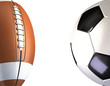 american football and soccer ball background