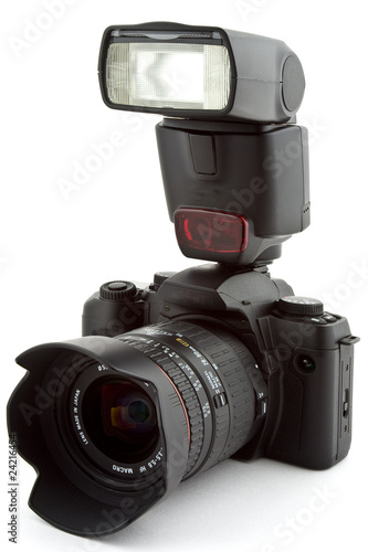 Leinwanddruck Bild Camera mit Blitz