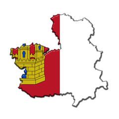Silueta Castilla La Mancha en relieve con colores bandera