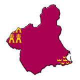Silueta Murcia en relieve con colores bandera poster
