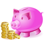 money-box is a pig and gold coins
