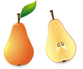 yellow pear and slice