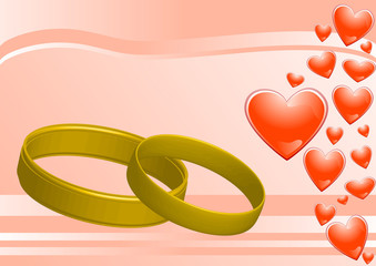 rings on the pink background and hearts