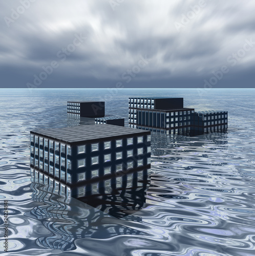 Office blocks under ocean