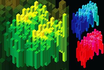 Barras aleatorias en grupos de varios colores