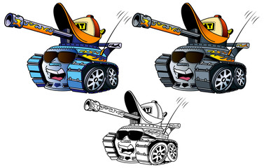 Tanques de guerra con elementos urbanos