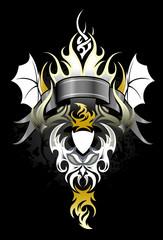 Criatura alada con aspecto diabolico en fondo negro