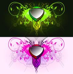 Elemento grafico decorativo abstracto natural con placa central