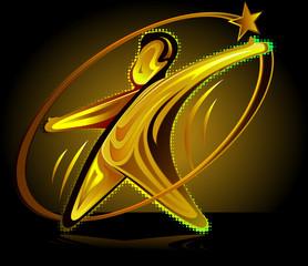 Premio con figura humana con estrella en tonos dorados