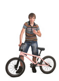 bmx sportsman pointing with finger
