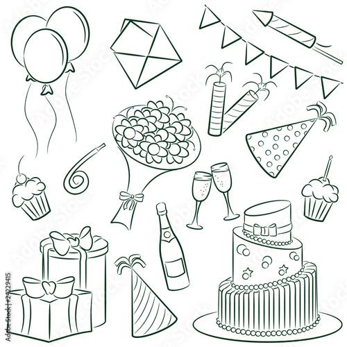 畫愛物體生日禮物組聚會花蛋糕蠟燭裝飾設置設計象徵賀卡載體食物驚喜