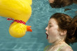 little girl surprised underwater swimming with rubber duck