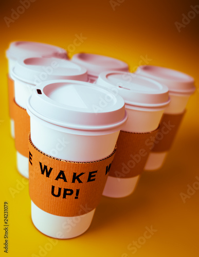 Group of disposable coffee cups