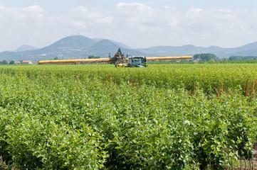 Irrigazione con trattore
