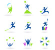 Collection of human business, success and money icons