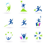 Collection of human business, success and money icons poster